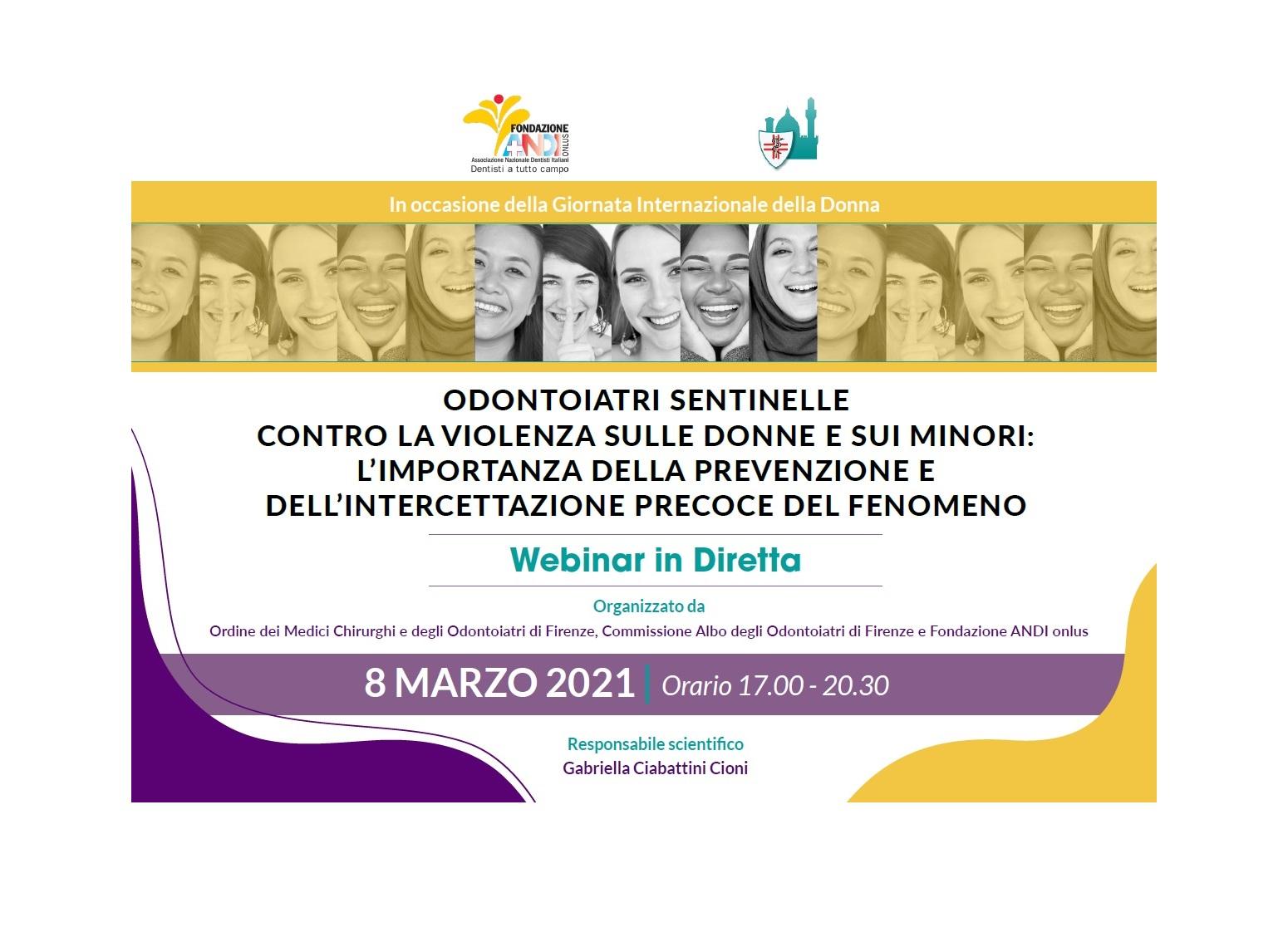 copertina locandina 8 marzo bordo 8/3/21 WEBINAR: Odontoiatri Sentinelle contro la violenza sulle donne e sui minori: l'importanza della prevenzione e dell'intercettazione precoce del fenomeno