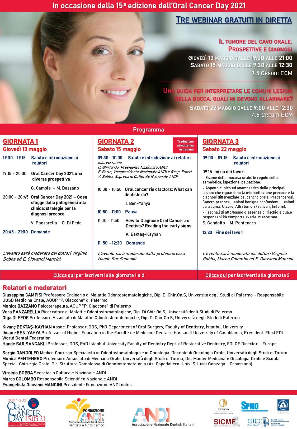 brochure digital ocd maggio2021 3 webinar def jpg Tre webinar gratuiti per Oral Cancer Day!